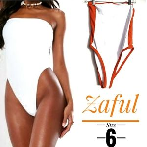 Zaful white bandeau high rise Strapless swimsuit